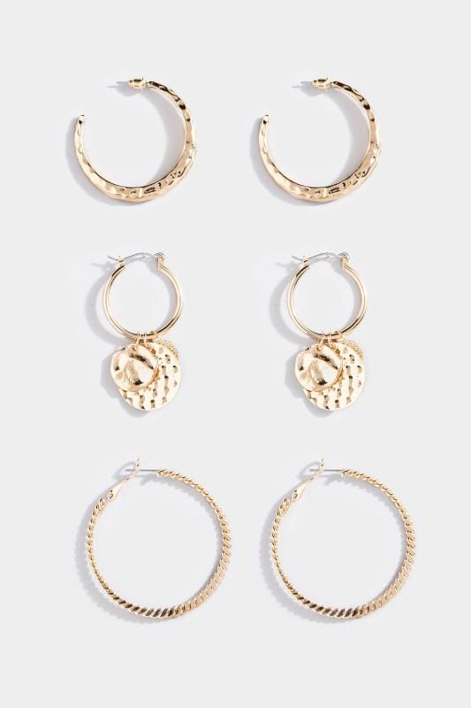 3 PACK Gold Textured Hoop Earrings