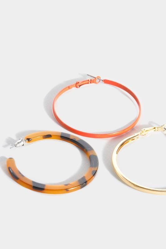 3 PACK Gold & Tortoiseshell Hoop Earrings