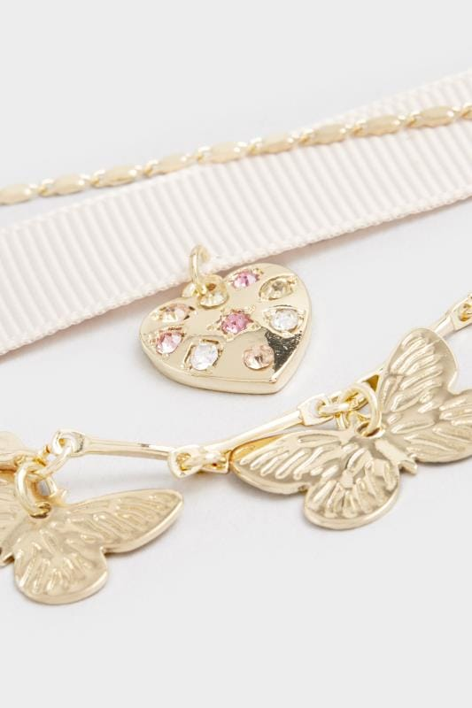 3 PACK Nude Gold Butterfly Choker Necklaces