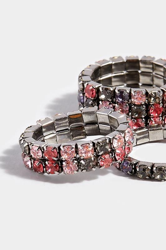 3 PACK Purple Diamante Rings