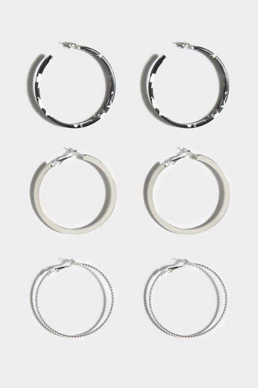 3 PACK Silver & Acrylic Hoop Earrings