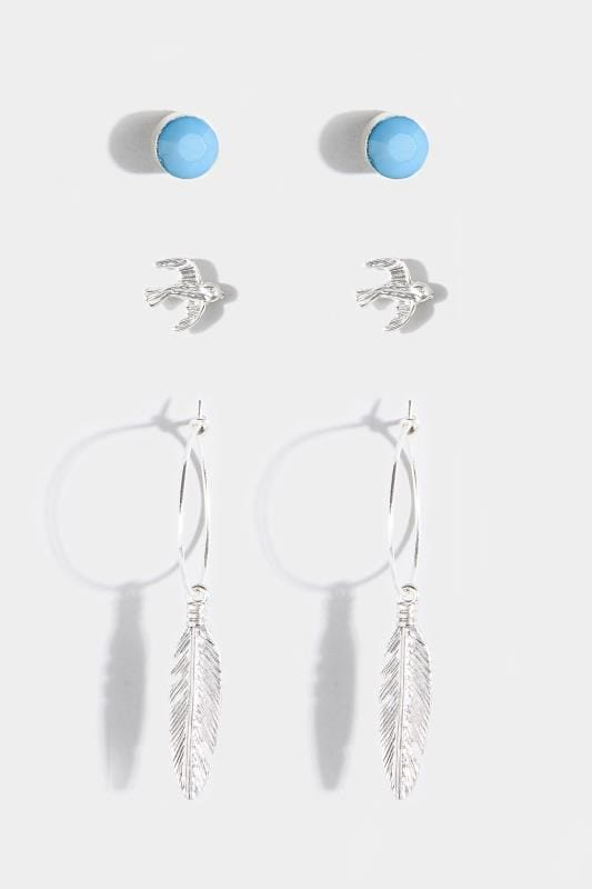 3 PACK Silver Bird & Leaf Earrings