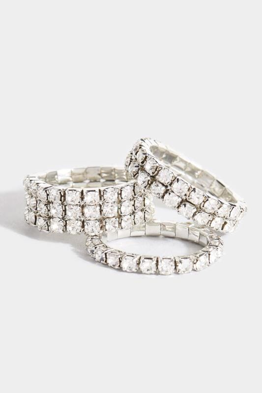 3 PACK Silver Diamante Rings