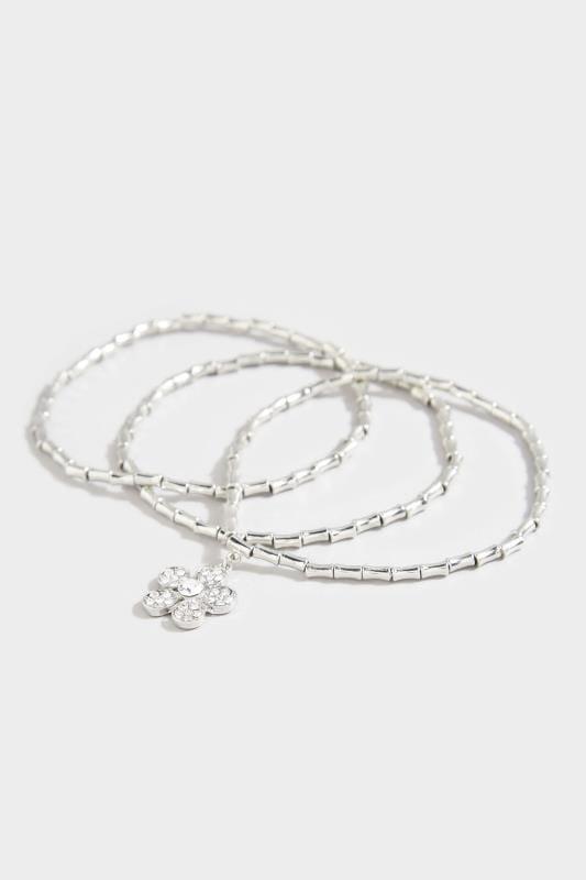 3 PACK Silver Floral Charm Bracelets