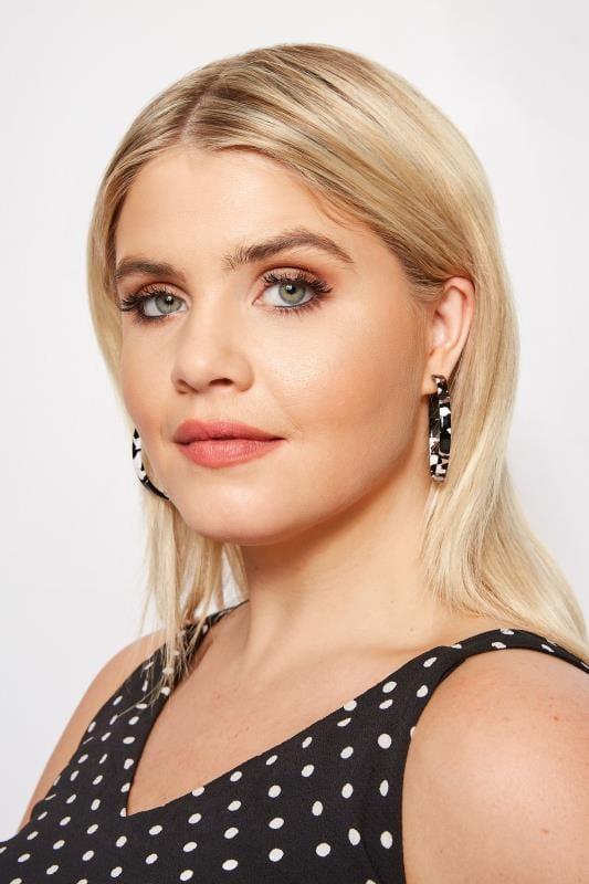 Plus Size Earrings 3 PACK Silver & Acrylic Hoop Earrings