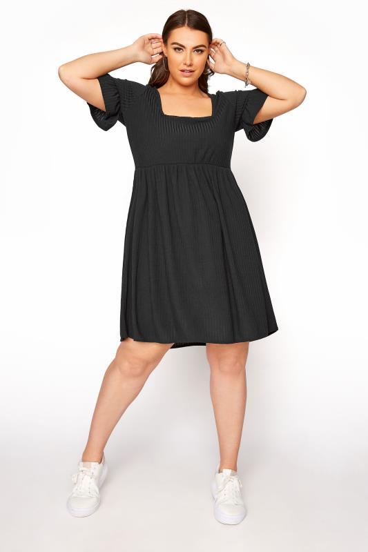 Black Dresses Tallas Grandes LIMITED COLLECTION Black Ribbed Flare Sleeve Smock Dress
