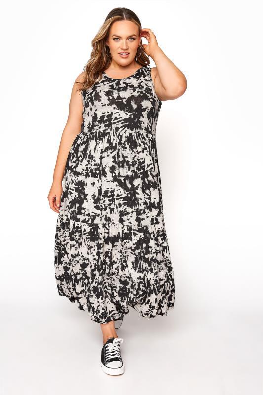 Plus Size  Black Tie Dye Print Midaxi Dress