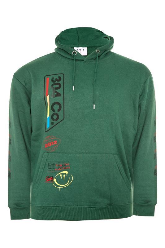 Großen Größen  304 CLOTHING Green Retro Hoodie
