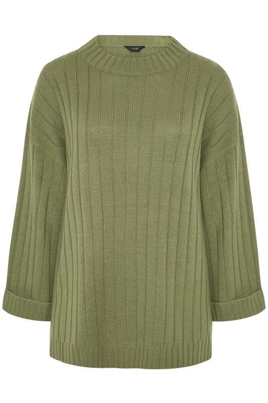 Khaki Ribbed Wide Sleeve Knitted Jumper_F.jpg