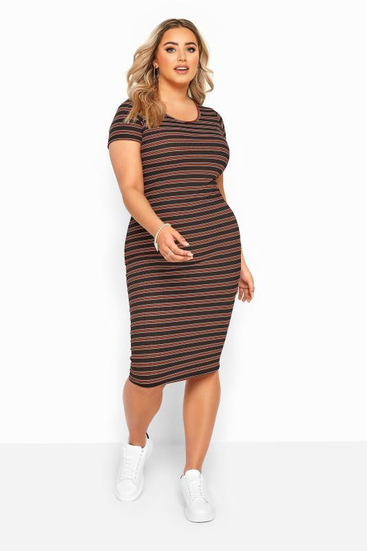 Black & Rust Stripe Ribbed Midi Dress