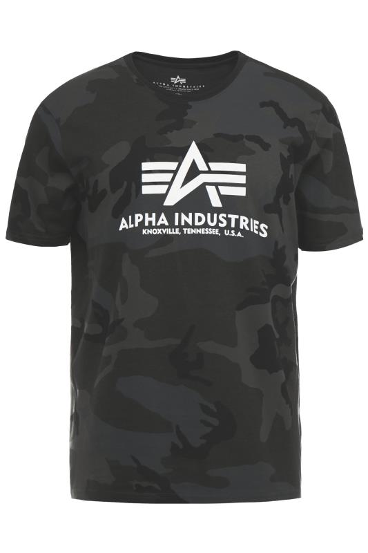 Plus Size  ALPHA INDUSTRIES Black Basic Camo T-Shirt