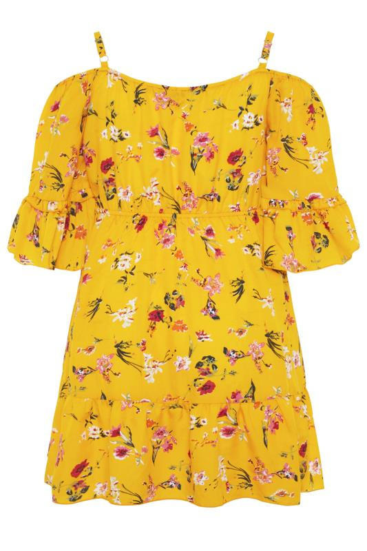 Yellow Floral Cold Shoulder Frill Top_bk.jpg