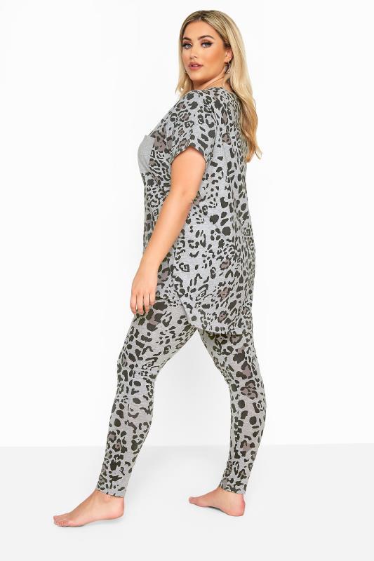 Grey Leopard Print Legging Pyjama Set