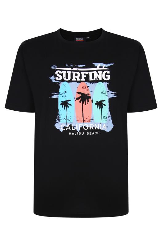 Men's  ESPIONAGE Black Surfing Print T-Shirt