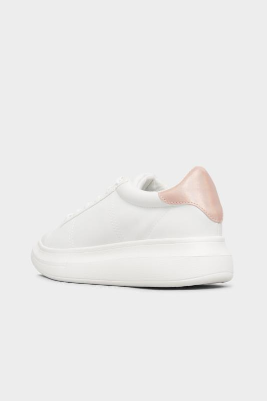 LIMITED COLLECTION White & Pink Vegan Leather Platform Trainers In Wide Fit_C.jpg