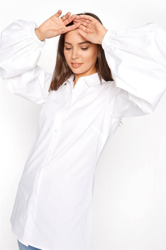 LTS White Balloon Sleeve Cotton Shirt_D.jpg