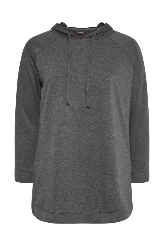 Plus Size  Charcoal Grey Soft Touch Side Split Hoodie