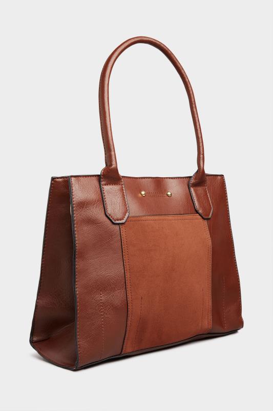 Brown Faux Vegan Suede Panel Shoulder Bag