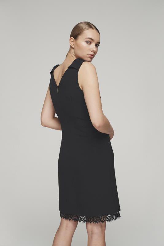 Karl Lagerfeld Black Paris Bow Shoulder Lace Hem Dress