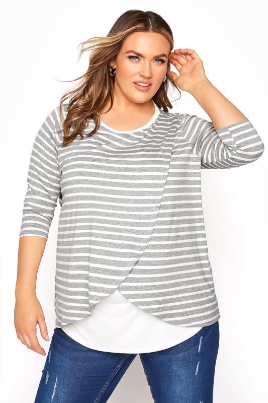 Plus Size Maternity Tops & T-Shirts BUMP IT UP MATERNITY Grey & White Stripe Nursing Top
