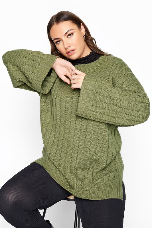 Plus Size  Khaki Ribbed Wide Sleeve Knitted Jumper