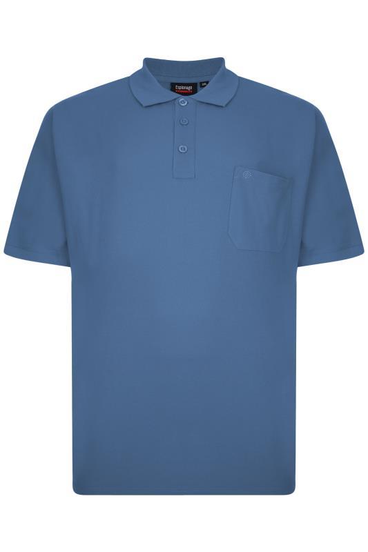 Plus Size  ESPIONAGE Blue Pique Pocket Polo