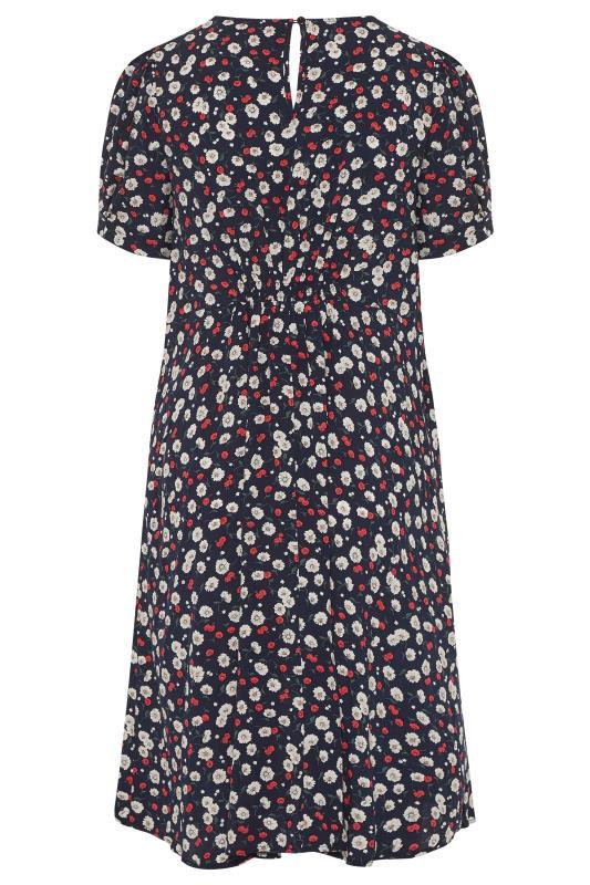 BUMP IT UP MATERNITY Navy Floral Puff Sleeve Midi Dress_BK.jpg