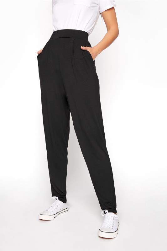 LTS Black Double Pleat Jersey Harem Trousers