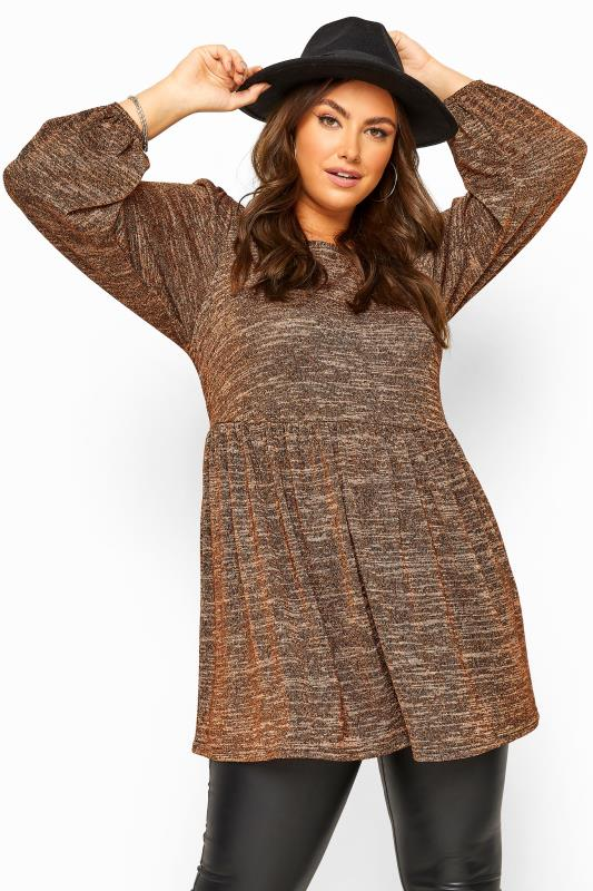 Plus Size Jersey Tops Rust Metallic Balloon Sleeve Peplum Smock Top