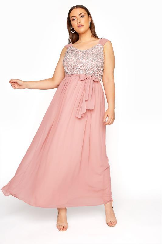 Pink Sleeveless Crochet Overlay Maxi Dress_A.jpg