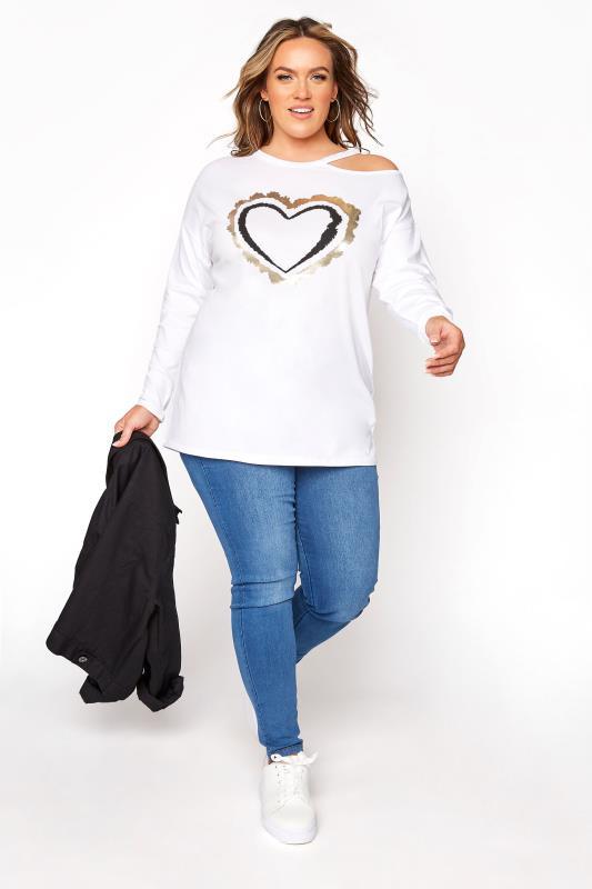 White Cold Shoulder Foil Heart Print Top_B.jpg