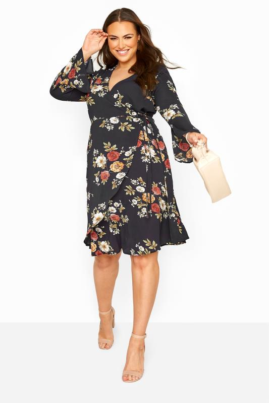 Plus Size  YOURS LONDON Navy Winter Floral Wrap Dress