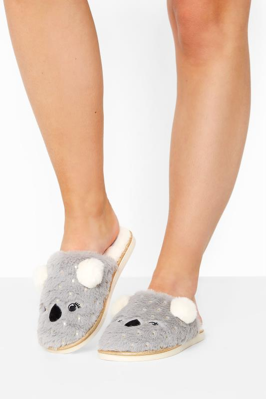 Grey Vegan Faux Fur Koala Mule Slippers In Regular Fit