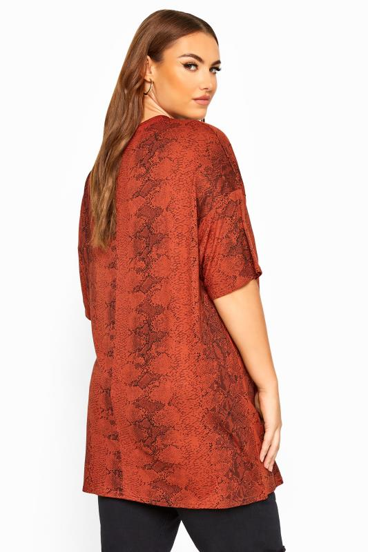 LIMITED COLLECTION Rust Snake Print Oversized Top