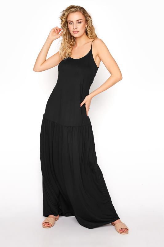 LTS Black Strappy Drop Waist Maxi Dress