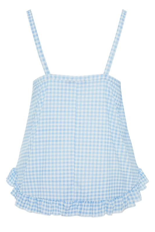 LIMITED COLLECTION Blue Gingham Ribbed Frill Pyjama Top_bk.jpg