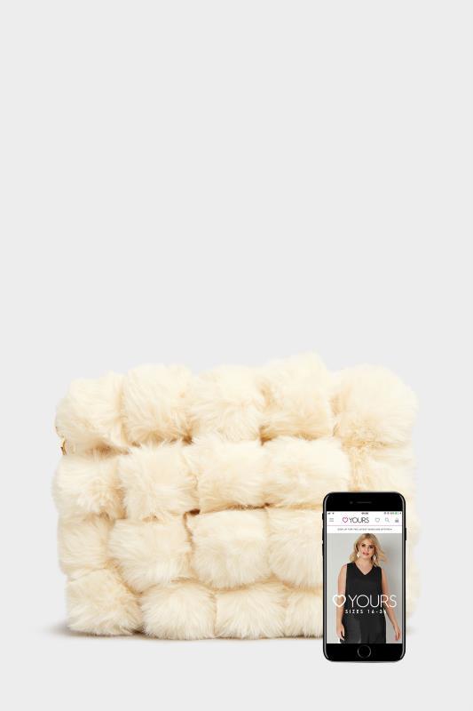 Cream Vegan Fur Chain Cross Body Bag