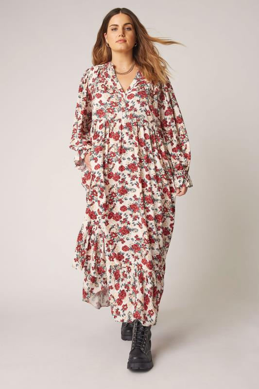 dla puszystych THE LIMITED EDIT Cream Floral Frill Smock Maxi Dress