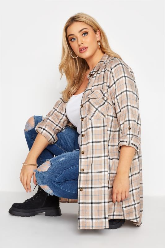 Plus Size  Beige Longline Check Boyfriend Shirt