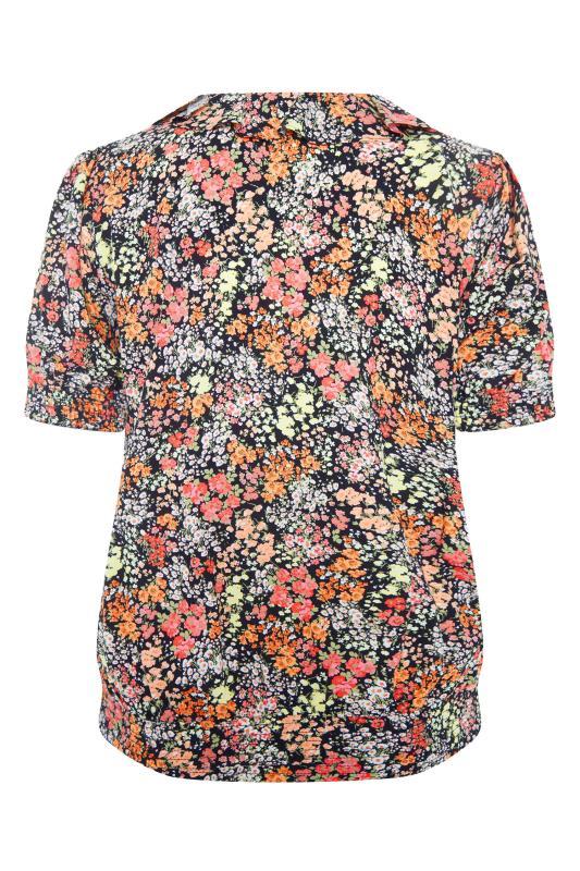 YOURS LONDON Black Floral Shirred Frill Top_BK.jpg