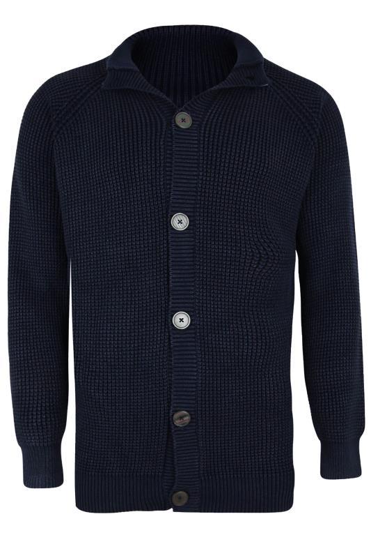 Men's  KAM Navy Button Through Knitted Jumper
