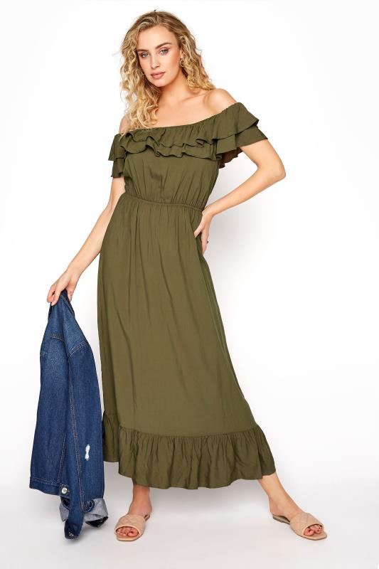 LTS Khaki Double Frill Bardot Midi Dress