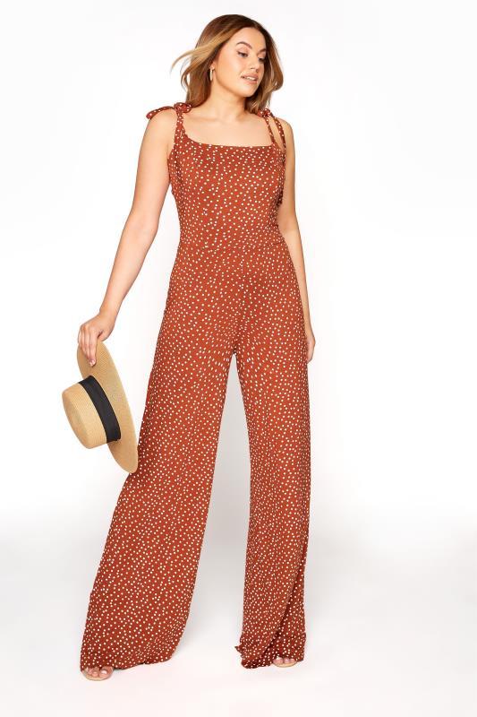 LTS Rust Spot Print Tie Shoulder Jumpsuit