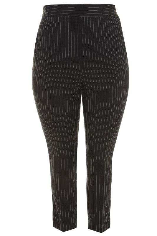 Black Pinstripe Tapered Trousers