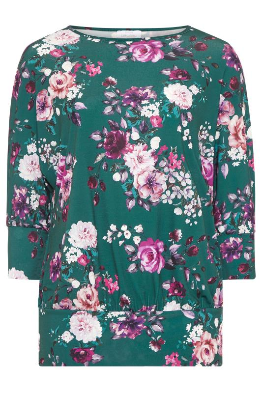 YOURS LONDON Green Floral Batwing Sleeve Top