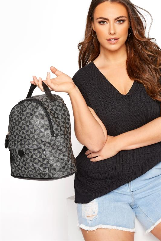 Grey Geometric Print Backpack