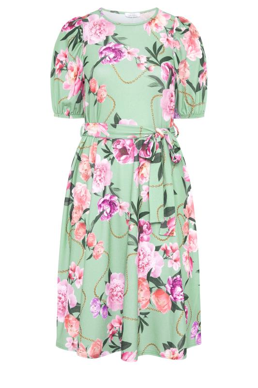 YOURS LONDON Green Floral Chain Print Puff Sleeve Skater Dress_F.jpg