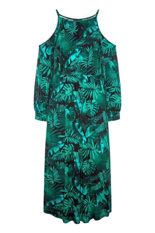 Green Tropical Print Cold Shoulder Midaxi Dress_F.jpg