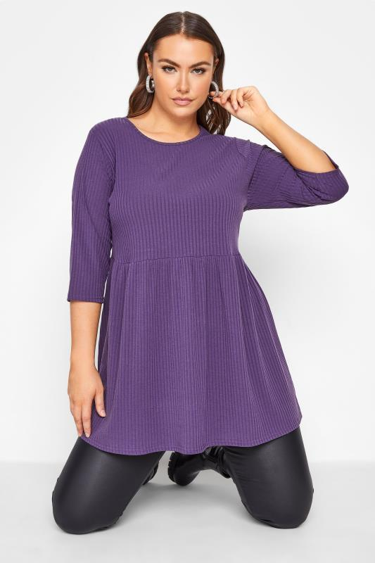 Plus Size  LIMITED COLLECTION Purple Ribbed Smock Top