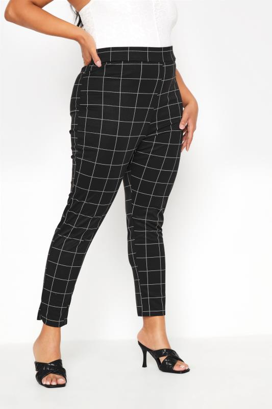 Plus Size  LIMITED COLLECTION Black Check Ponte Stretch Trousers